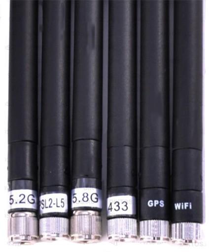 Каждая из шести антенн блокиратора подавляет свой частотный диапазон (соответствующие маркировки нанесены прямо на их корпуса)
