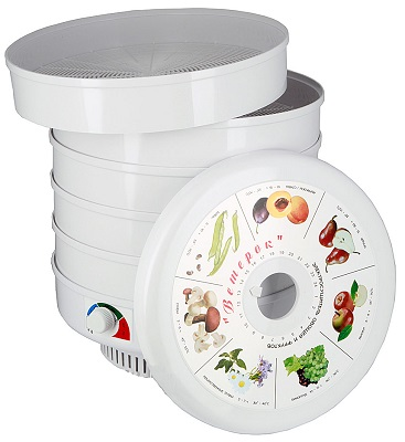 Белый электросушитель для овощей, фруктов, грибов и трав