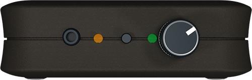 """На передней боковой панели """"BugHunter DAudio bda-2 Voises"""" находятся регулятор громкости акустической помехи, кнопка, отвечающая за включение режима ТУРБО, и аудиовыход"""