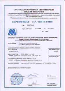 Сертификат соответствия дозиметра Радекс 1503+