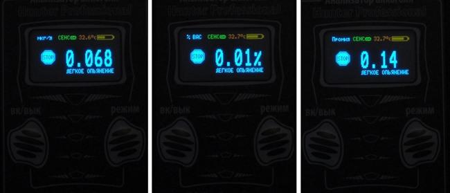 Отображение результатов измерения в различных единицах (слева направо): в мг/л, %ВАС, промилле