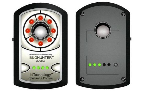 Обнаружитель скрытых видеокамер BugHunter Dvideo, вид спереди и сзади