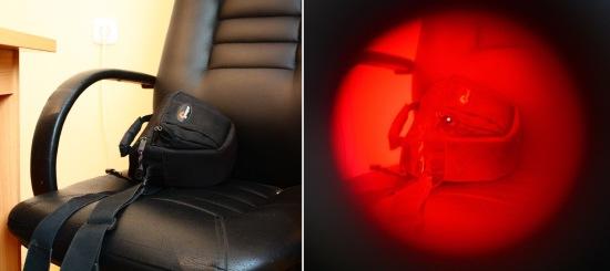 """Справа — то, что видно """"невооруженным глазом"""", а слева — через обнаружитель """"BugHunter Dvideo"""". Видите разницу? Скрытая камера в сумке!"""