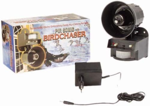 К отпугивателю птиц LS 2001, поставляемому в картонной коробке, прилагается адаптер для его работы от сети.